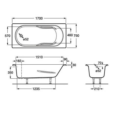 GENOVA ванна 170*75см, с ножками, фото 2