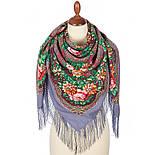 Время чудес 1882-1, павлопосадский платок шерстяной с шелковой бахромой, фото 2