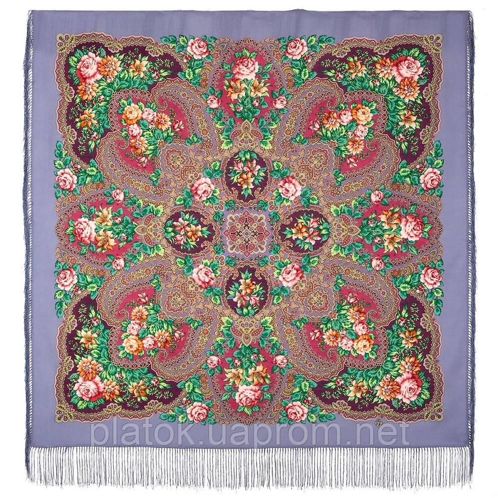 Время чудес 1882-1, павлопосадский платок шерстяной с шелковой бахромой