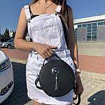 Стильная женская сумка круглая черная (1157), фото 4
