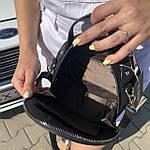 Стильная женская сумка круглая черная (1157), фото 6