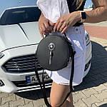 Стильная женская сумка круглая черная (1157), фото 3