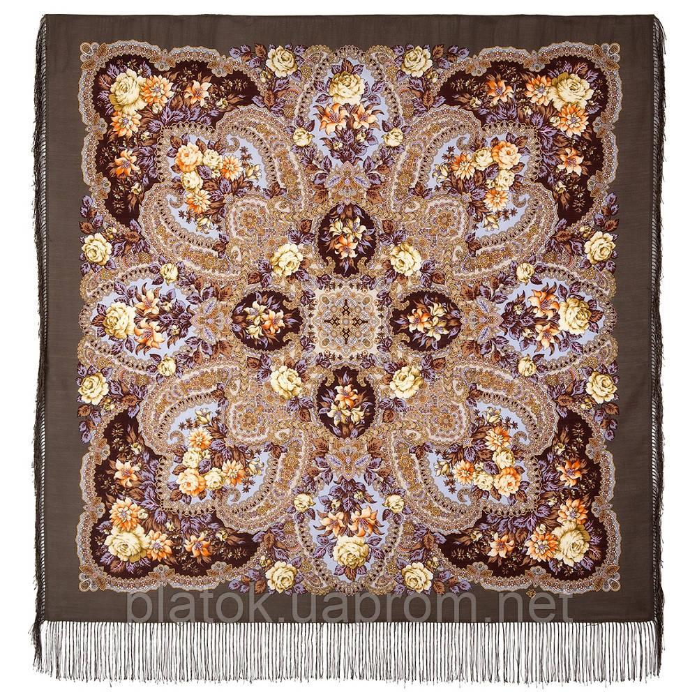 Время чудес 1882-2, павлопосадский платок шерстяной с шелковой бахромой