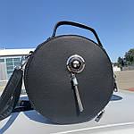 Стильная женская сумка круглая черная (1157), фото 2