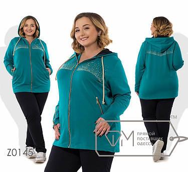 Красивый женский спортивный костюм с удлинённой олимпийкой батал с 56 по 62 размер, фото 2