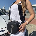 Женская сумка круглая черная (1158), фото 7