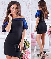 Красивое нарядное женское облегающее платье с отделкой из Турецкого кружева. Арт - 2696/5, фото 1