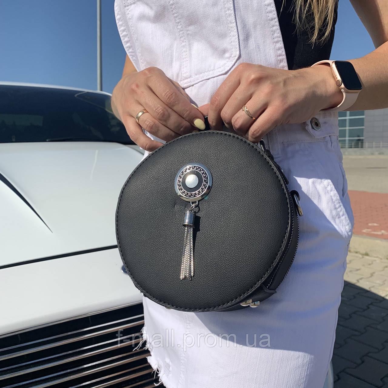 Женская сумка круглая черная (1158)