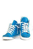Кеды демисезонные для девочки голубого цвета кожаные (03653)