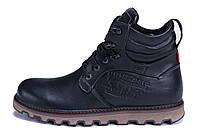 Мужские зимние кожаные ботинки Levis Stage 1 Black Night (реплика)