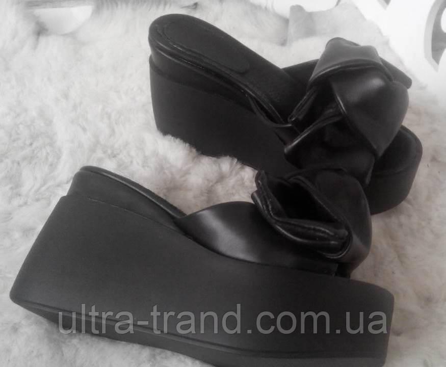 Сабо Star Банты! Босоножки женские шлепанцы на  платформе черная кожа