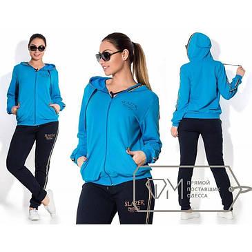 Модный женский спортивный костюм из двухники батал с 48 по 56 размер, фото 2