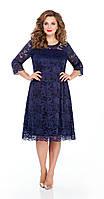 Платье TEZA-249/1 белорусский трикотаж, темно-синий-старое кружево, 50