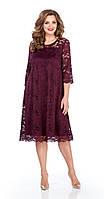 Платье TEZA-249/3 белорусский трикотаж, бордовый-старое кружево, 52