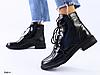 Ботинки женские черные из натуральной кожи на шнуровке с пряжкой