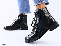 Ботинки женские черные из натуральной кожи на шнуровке с пряжкой, фото 1