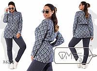 Модный женский спортивный костюм   бомбером-паркой из джинса с 50 по 56 размер