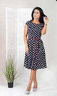 Женское платье миди принтом в горох с юбкой солнце под пояс размер 44,46,48,50,52,54