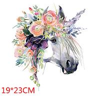Термонаклейка Лошадь цветы, большая 1 шт, аппликация для одежды