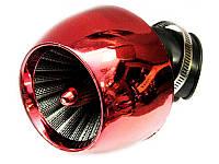 Фильтр нулевого сопротивления воздушный красный-турбина изогнутый Ø42 мм
