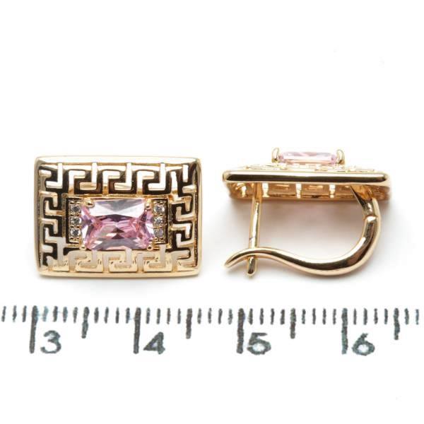 Серьги Xuping медзолото позолота 18к длина 1.7см розовый цирконий с988