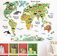 """Интерьерная декоративная виниловая наклейка на стену Карта мира с животными ZYPA037"""""""