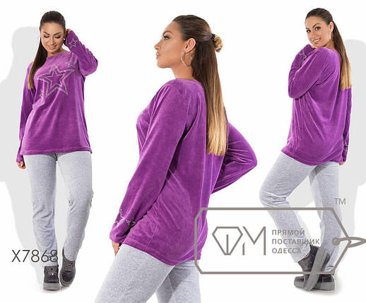 Удобный женский спортивный костюм из велюра со сверкающим принтом Звёзды в 4-х расцветках с 48 по 58, фото 2