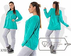 Удобный женский спортивный костюм из велюра со сверкающим принтом Звёзды в 4-х расцветках с 48 по 58, фото 3