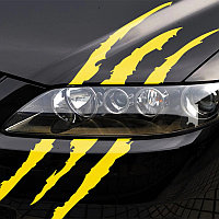 Наклейка ЦАРАПИНЫ на капот  - желтые (светоотражающие), фото 1