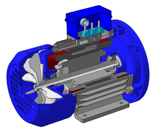 Электрический двигатель в сечении