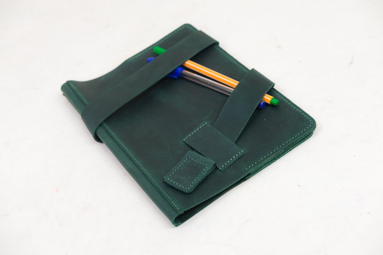 """Обложка для блокнота А5 """"Модель № 8"""" Винтажная кожа цвет Зеленый"""