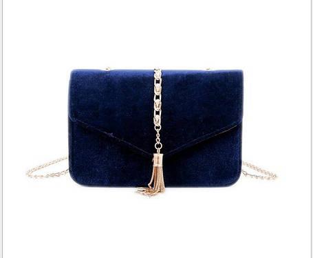 Элегантная бархатная \ велюровая сумка клатч на цепочке, фото 2