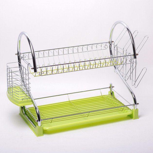 Сушилка для посуды двухъярусная Kamille KM-0762A 55*24,5*37 см зеленая