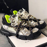 Кроссовки Gucci Flashtrek Silver Black Green