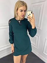 """Короткое нарядное платье-трапеция """"VAREN"""" с брошкой и гипюром (2 цвета), фото 3"""