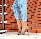 Классические замшевые туфли лодочки на шпильке визонового цвета, фото 4