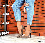 Классические замшевые туфли лодочки на шпильке визонового цвета, фото 5