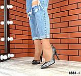 Классические кожаные туфли лодочки на шпильке под рептилию, фото 4