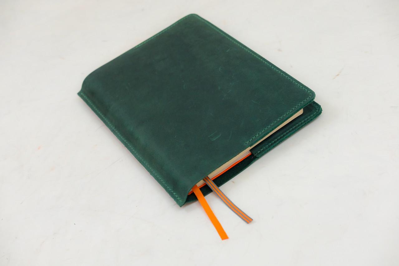 """Обложка для блокнота А5 """"Модель № 10"""" Винтажная кожа цвет Зеленый"""