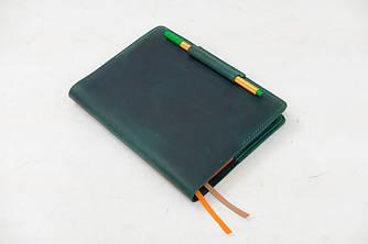 """Обложка для блокнота А5 """"Модель №11"""" Винтажная кожа цвет Зеленый"""