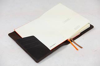 """Обкладинка для блокнот А5 """"Модель № 11"""" Вінтажна шкіра колір Шоколад, фото 3"""