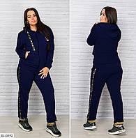 Модный женский спортивный костюм из двунитки с лампасами  батал с 48 по 64 размер