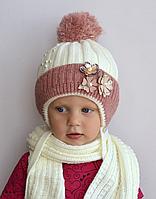 Детская шапка с помпоном Молочный, фото 1