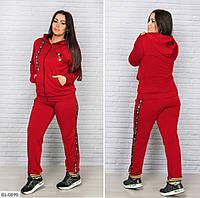 Женский спортивный костюм из двунитки с лампасами  батал с 48 по 64 размер