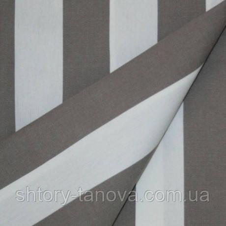 Ткань для тента, уличных штор, подушек с покрытием.  Дралон тефлон в крупную коричневую полоску
