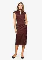 Элегантное деловое платье-футляр длины миди Modniy Oazis бордовый 90386/1, фото 1