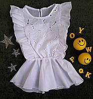 Блуза на девочку, р. 122-146, белый, фото 1