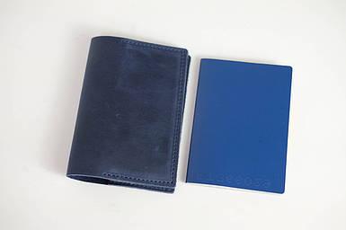 """Обкладинка для документів """"Модель №12"""" Вінтажна шкіра колір Синій"""