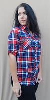 Женская рубашка в клетку большого размера Размеры:50 52 54 56 58 60