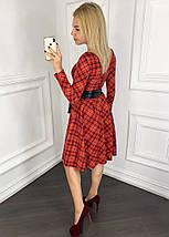 """Приталенное трикотажное платье в клетку """"Джемма"""" с кожаным поясом и карманами (5 цветов), фото 2"""